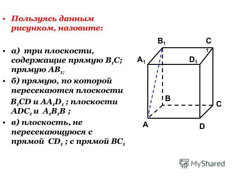 Пользуясь данным рисунком, назовите: а) три плоскости, содержащие прямую В 1 С; прямую АВ 1; б) прямую, по которой пересекаются плоскости B 1 CD и AA 1 D 1 ; плоскости ADC 1 и A 1 B 1 B ; в) плоскость, не пересекающуюся с прямой CD 1 ; с прямой BC 1