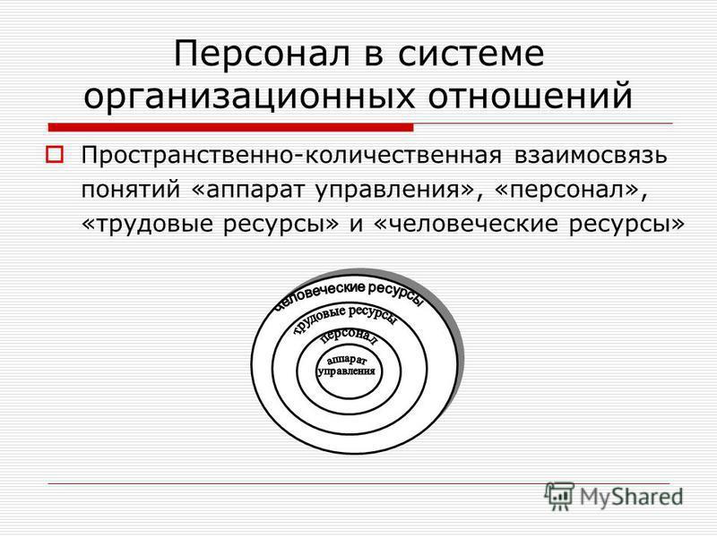 Персонал в системе организационных отношений Пространственно-количественная взаимосвязь понятий «аппарат управления», «персонал», «трудовые ресурсы» и «человеческие ресурсы»