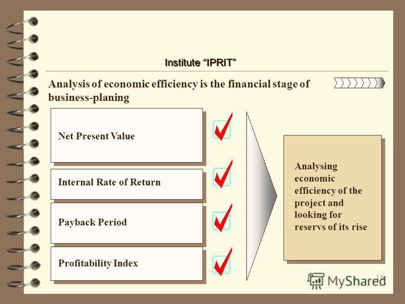 15 Institute IPRIT The next stage defines financial parameters of project Profits from investments, operations and different activities within the planned period Expenses part including calculation of permanent and variable expenses Consolidated tabl