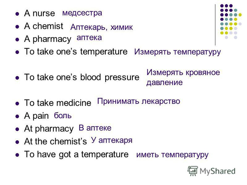 A nurse A chemist A pharmacy To take ones temperature To take ones blood pressure To take medicine A pain At pharmacy At the chemists To have got a temperature медсестра Аптекарь, химик аптека Измерять температуру Измерять кровяное давление Принимать