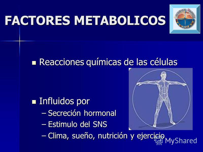FACTORES NEUROENDOCRINOLOGICOS Hormonas Hormonas Balance apropiado en el organismo Balance apropiado en el organismo Glucagón, insulina, Hormona del crecimiento, hormona tiroidea, corticoesteroides. Glucagón, insulina, Hormona del crecimiento, hormon