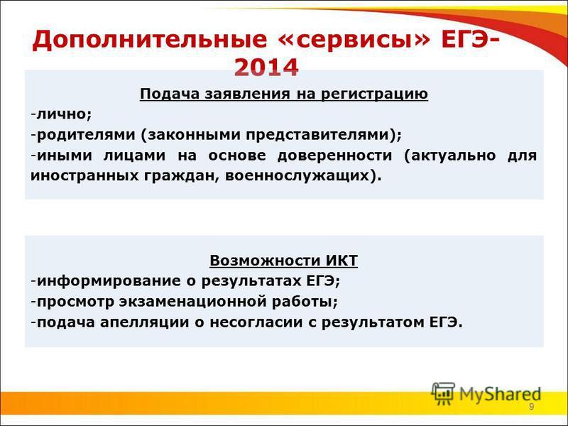 9 Дополнительные «сервисы» ЕГЭ- 2014 9 Подача заявления на регистрацию -лично; -родителями (законными представителями); -иными лицами на основе доверенности (актуально для иностранных граждан, военнослужащих). Возможности ИКТ -информирование о резуль