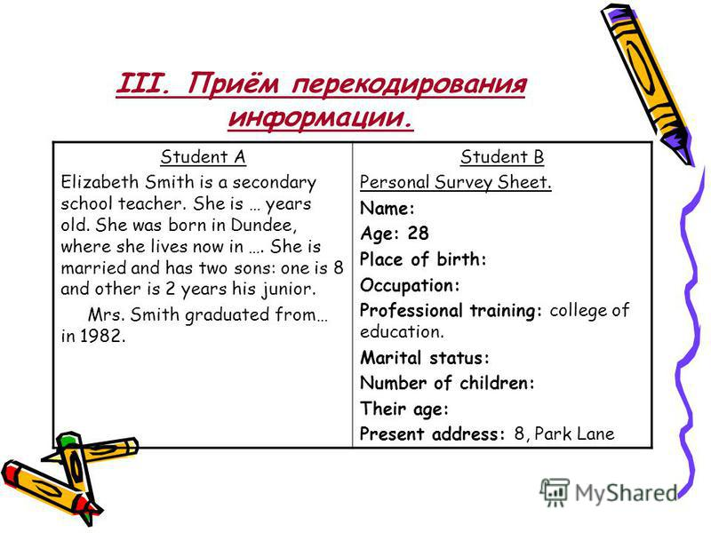III. Приём перекодирования информации. Student A Elizabeth Smith is a secondary school teacher. She is … years old. She was born in Dundee, where she lives now in …. She is married and has two sons: one is 8 and other is 2 years his junior. Mrs. Smit