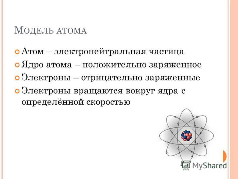 М ОДЕЛЬ АТОМА Атом – электронейтральная частица Ядро атома – положительно заряженное Электроны – отрицательно заряженные Электроны вращаются вокруг ядра с определённой скоростью