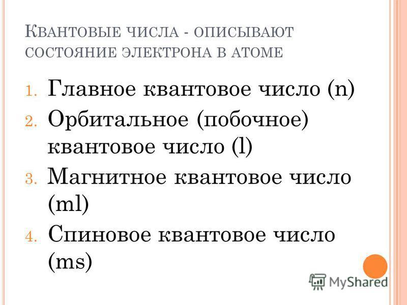 К ВАНТОВЫЕ ЧИСЛА - ОПИСЫВАЮТ СОСТОЯНИЕ ЭЛЕКТРОНА В АТОМЕ 1. Главное квантовое число (n) 2. Орбитальное (побочное) квантовое число (l) 3. Магнитное квантовое число (ml) 4. Спиновое квантовое число (ms)