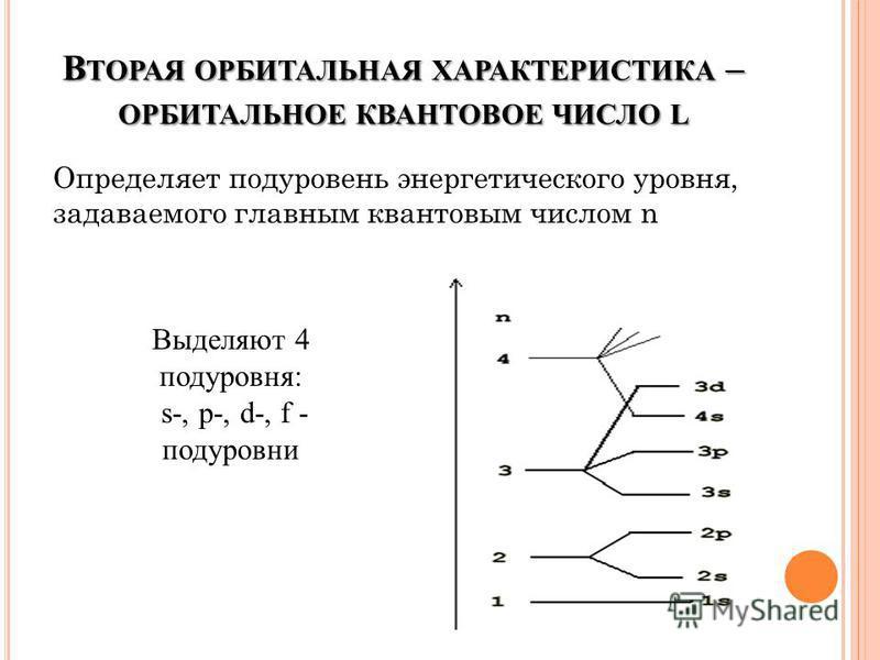 В ТОРАЯ ОРБИТАЛЬНАЯ ХАРАКТЕРИСТИКА – ОРБИТАЛЬНОЕ КВАНТОВОЕ ЧИСЛО L Определяет подуровень энергетического уровня, задаваемого главным квантовым числом n Выделяют 4 подуровня: s-, p-, d-, f - подуровни