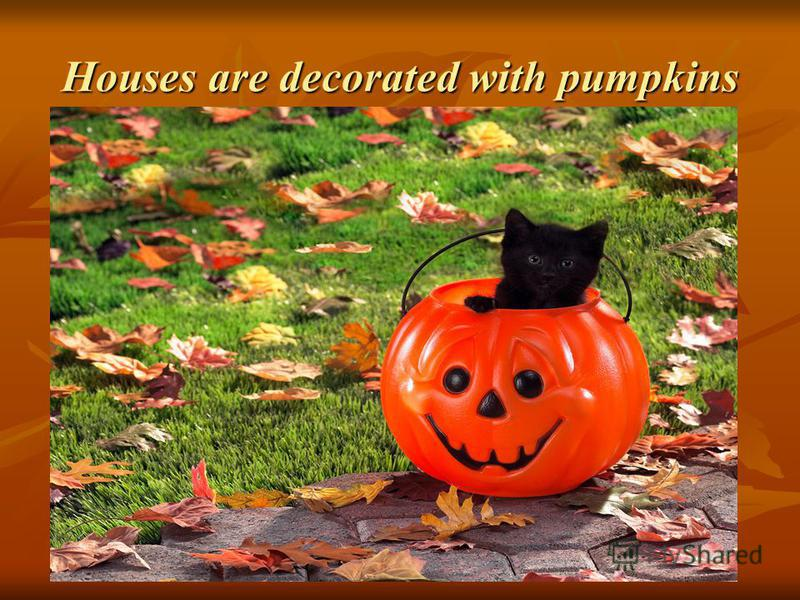 Houses are decorated with pumpkins