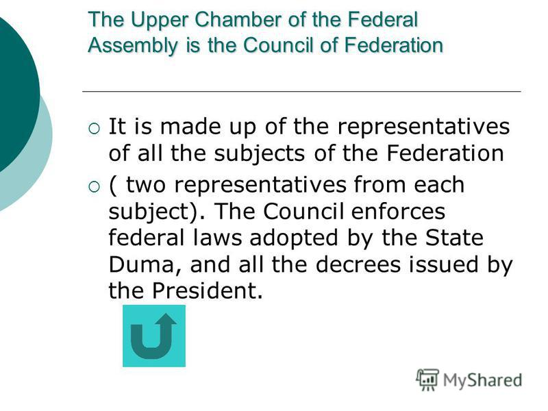 The legislative power The Upper Chamber is the Council of Federation The Lower Chamber is the State Duma