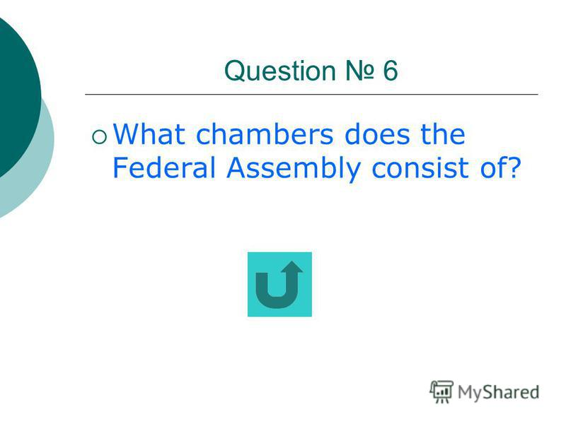 Question 5 Is the legislative power represented by the Federal Assembly?