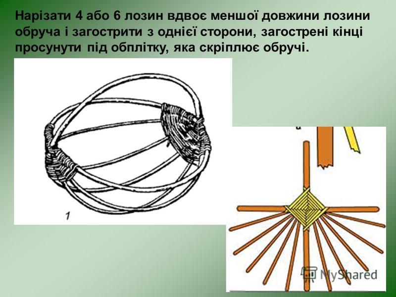 Нарізати 4 або 6 лозин вдвоє меншої довжини лозини обруча і загострити з однієї сторони, загострені кінці просунути під обплітку, яка скріплює обручі.