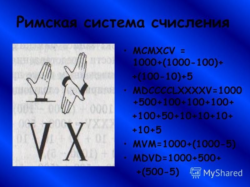 Римская система счисления MCMXCV = 1000+(1000-100)+ +(100-10)+5 MDCCCCLXXXXV=1000 +500+100+100+100+ +100+50+10+10+10+ +10+5 MVM=1000+(1000-5) MDVD=1000+500+ +(500-5)