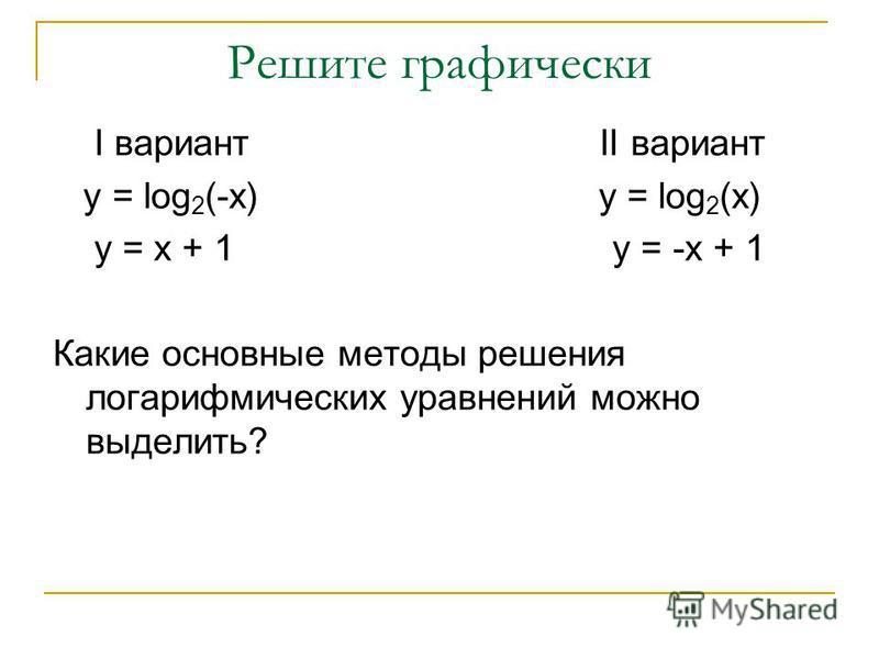 Решите графически I вариант II вариант y = log 2 (-x) y = log 2 (x) y = x + 1 y = -x + 1 Какие основные методы решения логарифмических уравнений можно выделить?