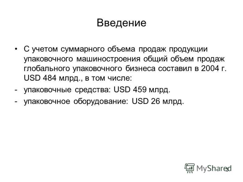 3 Введение С учетом суммарного объема продаж продукции упаковочного машиностроения общий объем продаж глобального упаковочного бизнеса составил в 2004 г. USD 484 млрд., в том числе: -упаковочные средства: USD 459 млрд. -упаковочное оборудование: USD