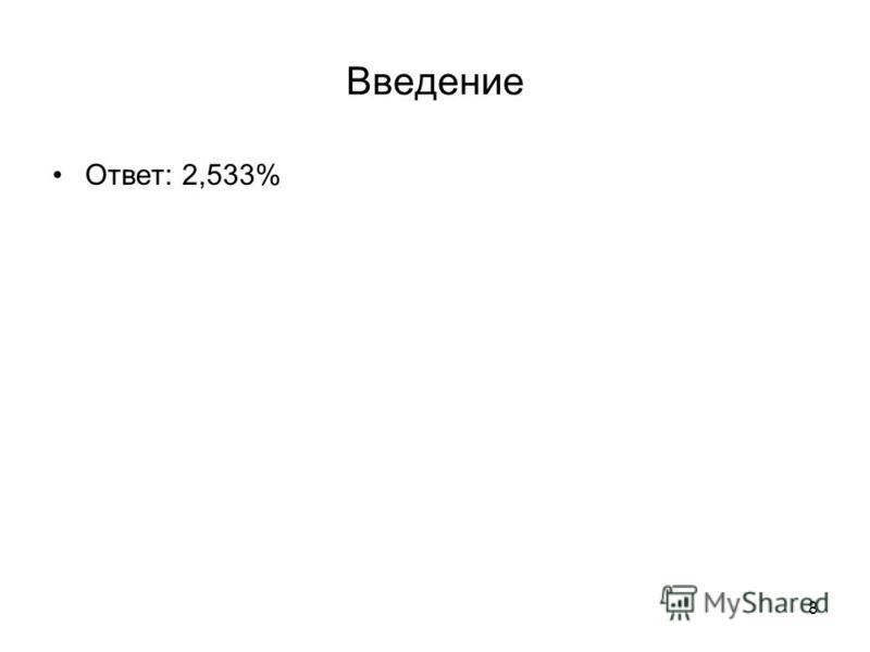 8 Введение Ответ: 2,533%