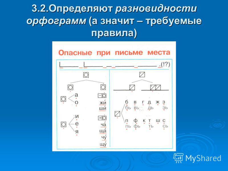 3.2. Определяют разновидности орфограмм (а значит – требуемые правила)