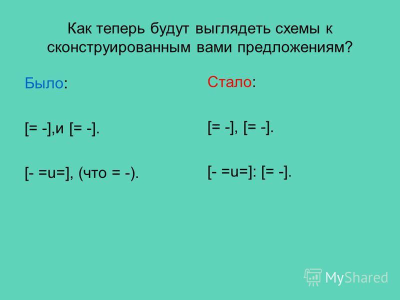 Как теперь будут выглядеть схемы к сконструированным вами предложениям? Было: [= -],и [= -]. [- =u=], (что = -). Стало: [= -], [= -]. [- =u=]: [= -].