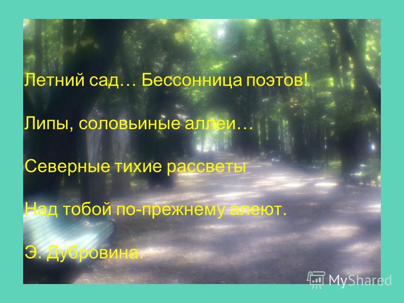 Летний сад… Бессонница поэтов! Липы, соловьиные аллеи… Северные тихие рассветы Над тобой по-прежнему алеют. Э. Дубровина.