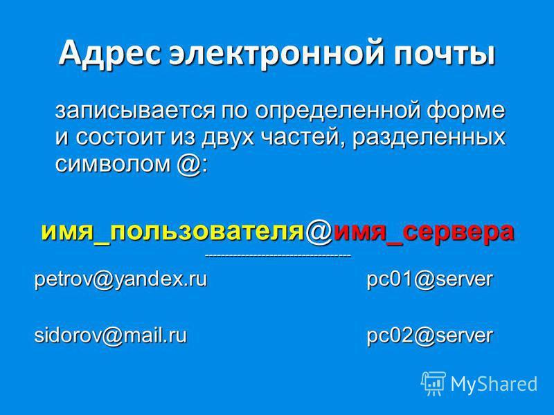 Адрес электронной почты записывается по определенной форме и состоит из двух частей, разделенных символом @: имя_пользователя@имя_сервера ------------------------------------ petrov@yandex.ru pc01@server sidorov@mail.ru pc02@server
