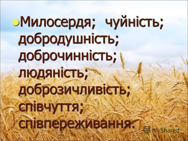 Милосердя; чуйність; добродушність; доброчинність; людяність; доброзичливість; співчуття; співпереживання. Милосердя; чуйність; добродушність; доброчинність; людяність; доброзичливість; співчуття; співпереживання.