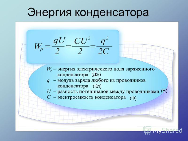 Энергия конденсатора (Дж) (Кл) (В) (Ф)
