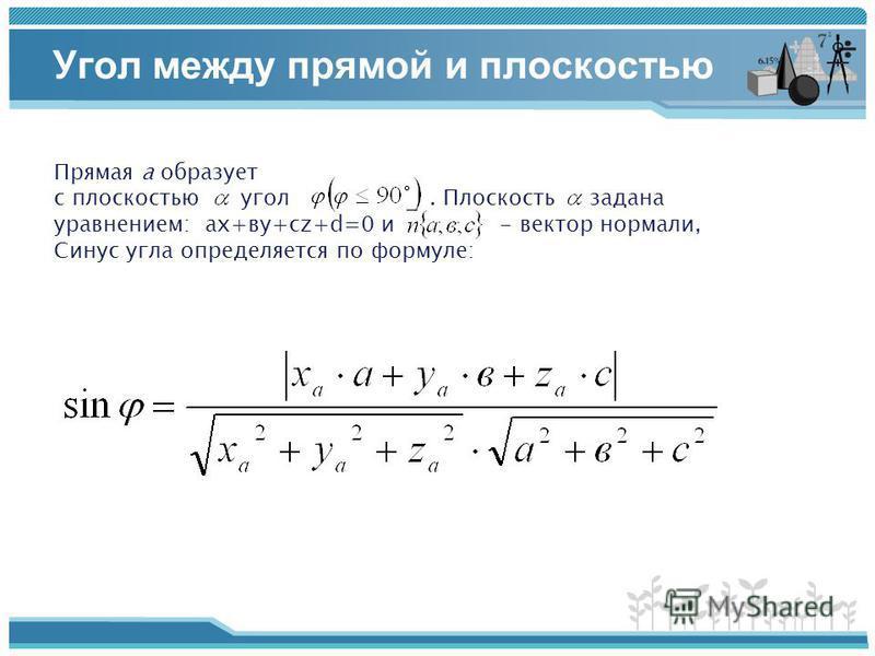 Угол между прямой и плоскостью Прямая а образует с плоскостью угол. Плоскость задана уравнением: ах+ву+сz+d=0 и - вектор нормали, Синус угла определяется по формуле:
