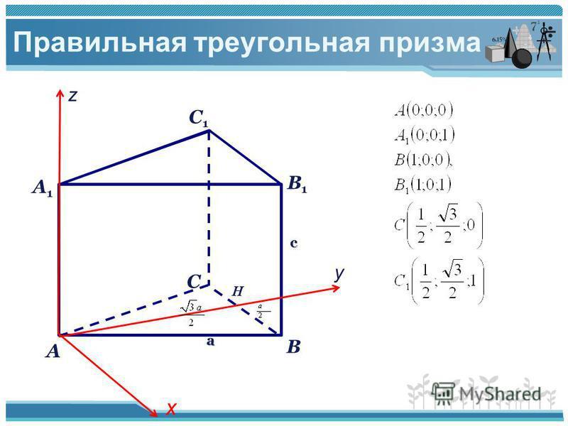 Правильная треугольная призма С1С1 А В С А1А1 В1В1 х у z H a с