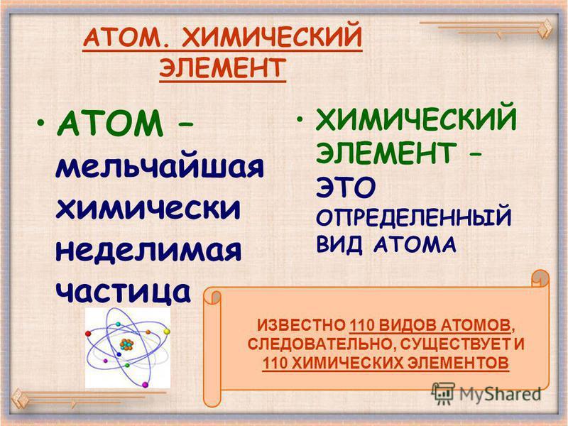 АТОМ. ХИМИЧЕСКИЙ ЭЛЕМЕНТ АТОМ – мельчайшая химически неделимая частица ХИМИЧЕСКИЙ ЭЛЕМЕНТ – ЭТО ОПРЕДЕЛЕННЫЙ ВИД АТОМА ИЗВЕСТНО 110 ВИДОВ АТОМОВ, СЛЕДОВАТЕЛЬНО, СУЩЕСТВУЕТ И 110 ХИМИЧЕСКИХ ЭЛЕМЕНТОВ
