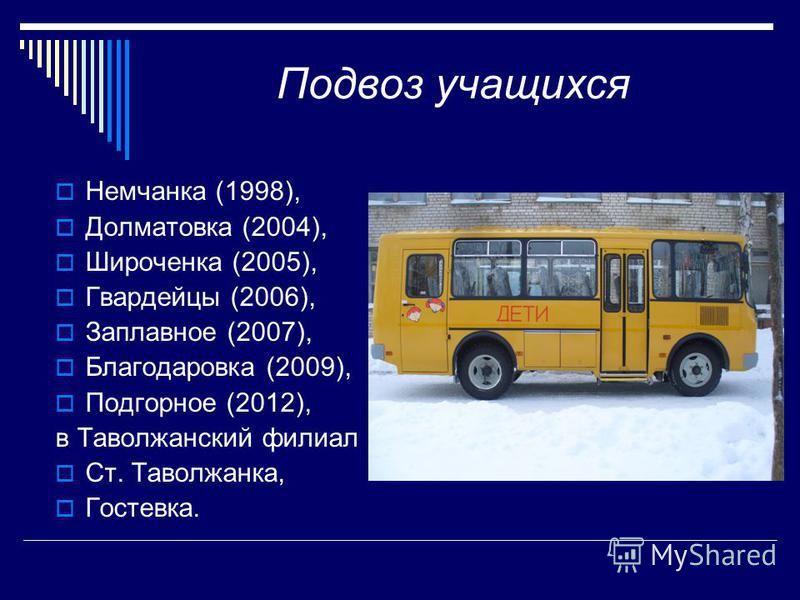 Подвоз учащихся Немчанка (1998), Долматовка (2004), Широченка (2005), Гвардейцы (2006), Заплавное (2007), Благодаровка (2009), Подгорное (2012), в Таволжанский филиал Ст. Таволжанка, Гостевка.