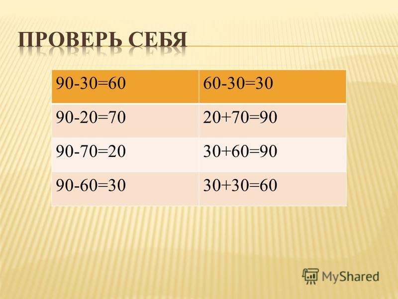90-30=6060-30=30 90-20=7020+70=90 90-70=2030+60=90 90-60=3030+30=60