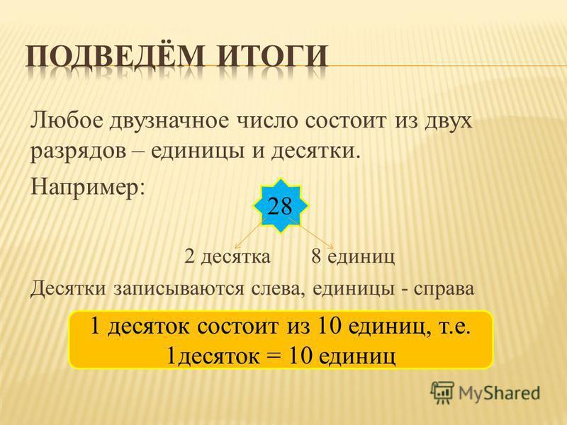 Любое двузначное число состоит из двух разрядов – единицы и десятки. Например: 2 десятка 8 единиц Десятки записываются слева, единицы - справа 28 1 десяток состоит из 10 единиц, т.е. 1 десяток = 10 единиц