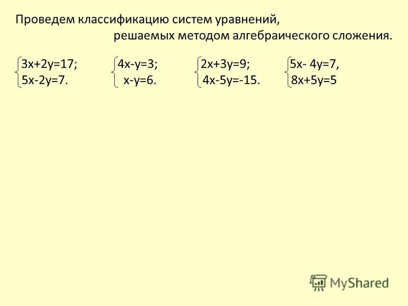 3 х+2 у=17; 4 х-у=3; 2 х+3 у=9; 5 х- 4 у=7, 5 х-2 у=7. х-у=6. 4 х-5 у=-15. 8 х+5 у=5 Проведем классификацию систем уравнений, решаемых методом алгебраического сложения.