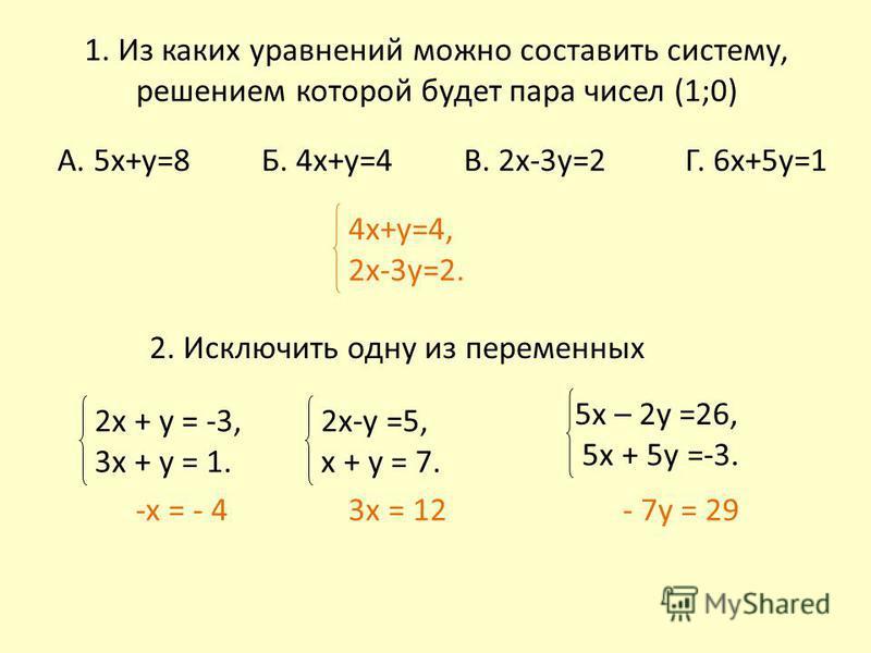 1. Из каких уравнений можно составить систему, решением которой будет пара чисел (1;0) А. 5 х+у=8 Б. 4 х+у=4 В. 2 х-3 у=2 Г. 6 х+5 у=1 2. Исключить одну из переменных 2 х + у = -3, 3 х + у = 1. 2x-y =5, х + у = 7. 5 х – 2 у =26, 5 х + 5 у =-3. 4 х+у=