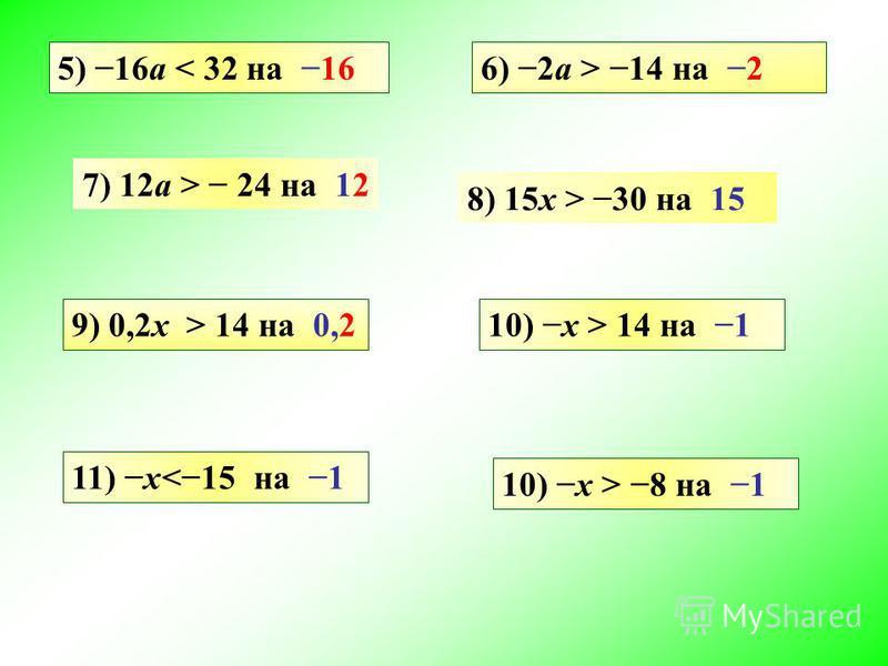 5) 16a < 32 на 16 8) 15x > 30 на 15 6) 2a > 14 на 2 7) 12a > 24 на 12 9) 0,2x > 14 на 0,210) x > 14 на 1 10) x > 8 на 1 11) x<15 на 1