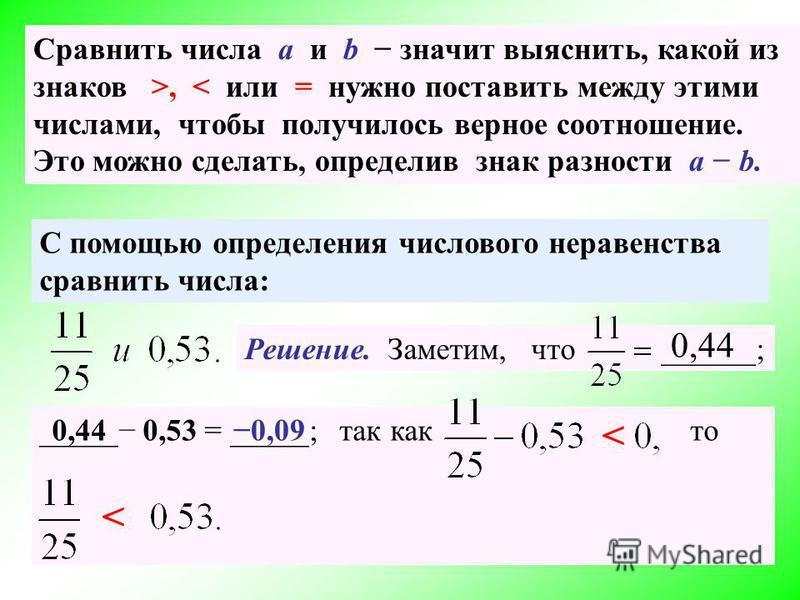 Сравнить числа а и b значит выяснить, какой из знаков >, < или = нужно поставить между этими числами, чтобы получилось верное соотношение. Это можно сделать, определив знак разности a b. С помощью определения числового неравенства сравнить числа: Реш