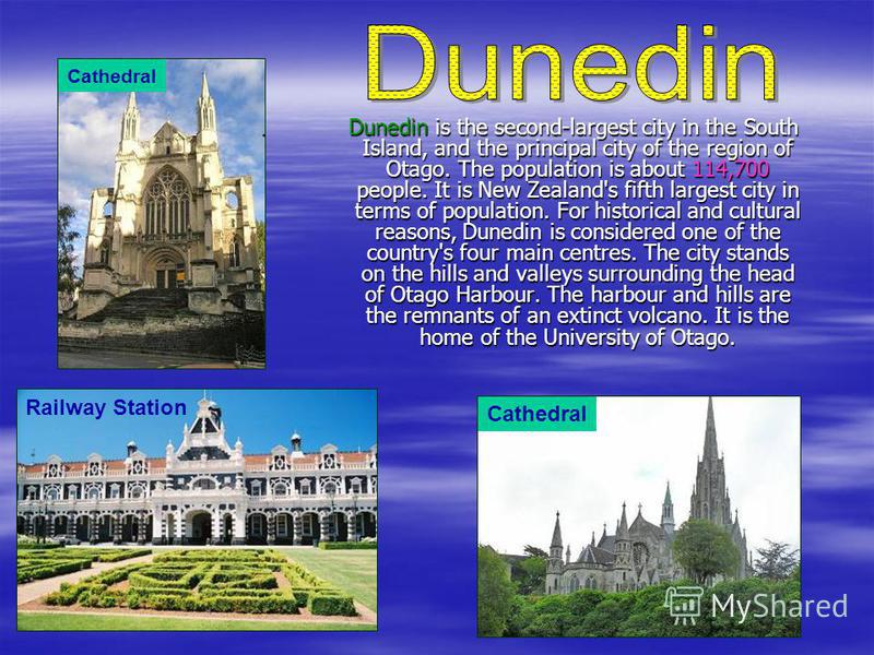 Christchurch is the regional capital of Canterbury. The largest city in the South Island, it is also the second largest city and third largest urban area of New Zealand. The Population is about 367,700 people. The city is named after the Christ Churc