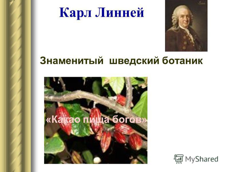 Карл Линней Знаменитый шведский ботаник «Какао пища богов»