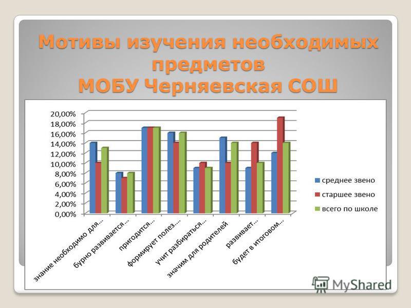 Мотивы изучения необходимых предметов МОБУ Черняевская СОШ