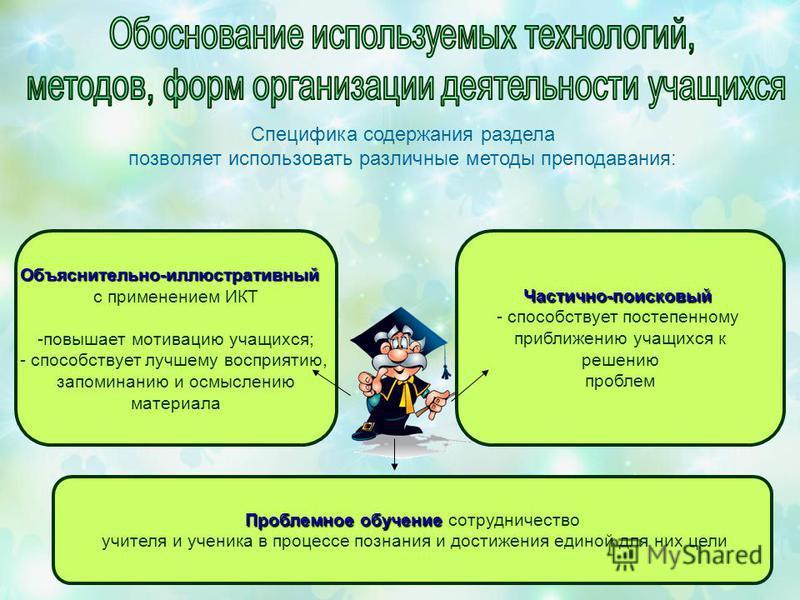 Специфика содержания раздела позволяет использовать различные методы преподавания: Объяснительно-иллюстративный с применением ИКТ -повышает мотивацию учащихся; - способствует лучшему восприятию, запоминанию и осмыслению материала Частично-поисковый -