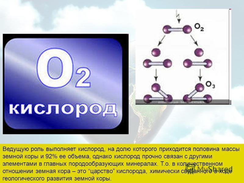 Ведущую роль выполняет кислород, на долю которого приходится половина массы земной коры и 92% ее объема, однако кислород прочно связан с другими элементами в главных породообразующих минералах. Т.о. в количественном отношении земная кора – это царств