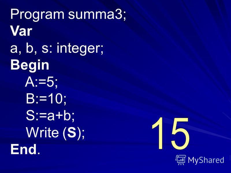 Program summa3; Var a, b, s: integer; Begin A:=5; B:=10; S:=a+b; Write (S); End.