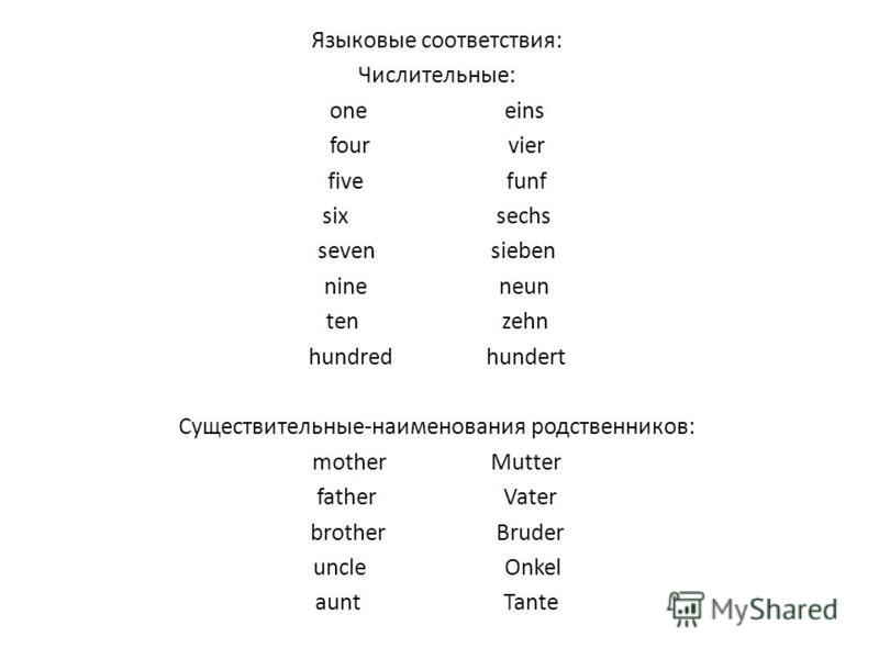 Языковые соответствия: Числительные: one eins four vier five funf six sechs seven sieben nine neun ten zehn hundred hundert Существительные-наименования родственников: mother Mutter father Vater brother Bruder uncle Onkel aunt Tante