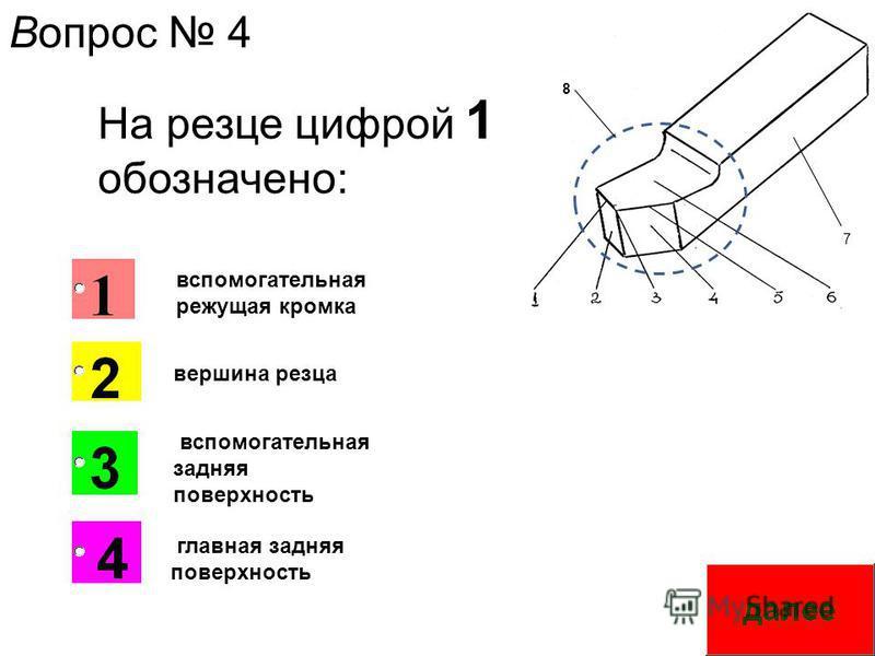 7 8 На резце цифрой 1 обозначено: вспомогательная режущая кромка вершина резца вспомогательная задняя поверхность главная задняя поверхность Вопрос 4