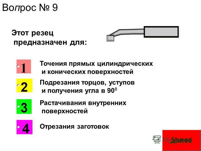 Этот резец предназначен для: Вопрос 9 Точения прямых цилиндрических и конических поверхностей Подрезания торцов, уступов и получения угла в 90 0 Отрезания заготовок Растачивания внутренних поверхностей