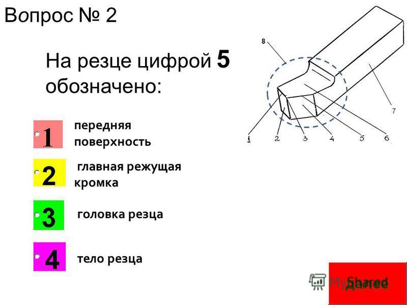 7 8 На резце цифрой 5 обозначено: главная режущая кромка передняя поверхность головка резца тело резца Вопрос 2