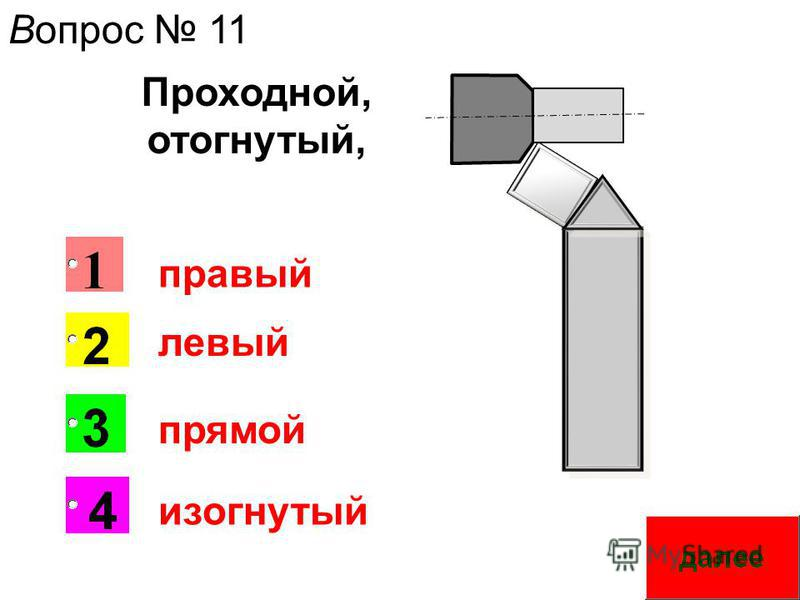 Вопрос 11 правый левый прямой изогнутый Проходной, отогнутый,