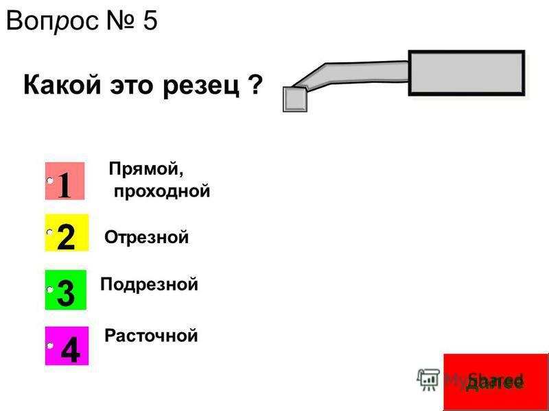 Прямой, проходной Расточной Подрезной Отрезной Какой это резец ? Вопрос 5