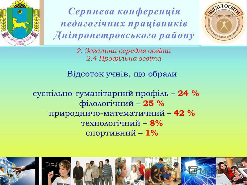 Серпнева конференція педагогічних працівників Дніпропетровського району Відсоток учнів, що обрали суспільно-гуманітарний профіль – 24 % філологічний – 25 % природничо-математичний – 42 % технологічний – 8% спортивний – 1% 2. Загальна середня освіта 2