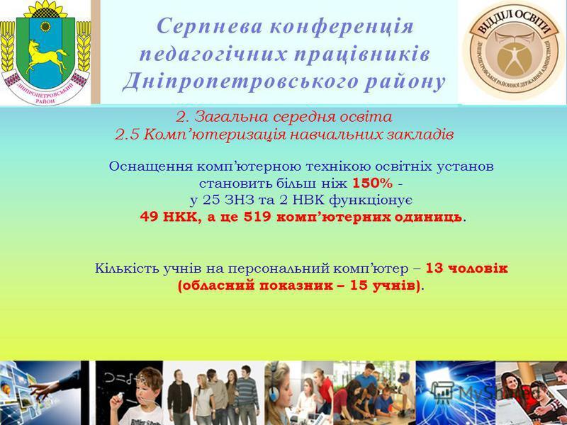 Серпнева конференція педагогічних працівників Дніпропетровського району Оснащення компютерною технікою освітніх установ становить більш ніж 150% - у 25 ЗНЗ та 2 НВК функціонує 49 НКК, а це 519 компютерних одиниць. Кількість учнів на персональний комп