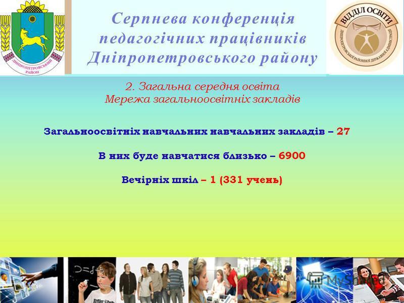 Серпнева конференція педагогічних працівників Дніпропетровського району 2. Загальна середня освіта Мережа загальноосвітніх закладів Загальноосвітніх навчальних навчальних закладів – 27 В них буде навчатися близько – 6900 Вечірніх шкіл – 1 (331 учень)