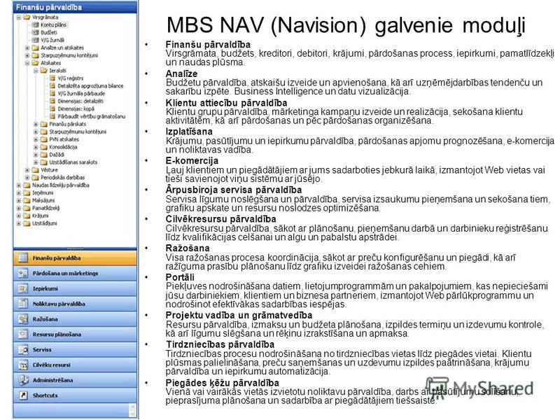MBS NAV (Navision) galvenie moduļi Finanšu pārvaldība Virsgrāmata, budžets, kreditori, debitori, krājumi, pārdošanas process, iepirkumi, pamatlīdzekļi un naudas plūsma. Analīze Budžetu pārvaldība, atskaišu izveide un apvienošana, kā arī uzņēmējdarbīb